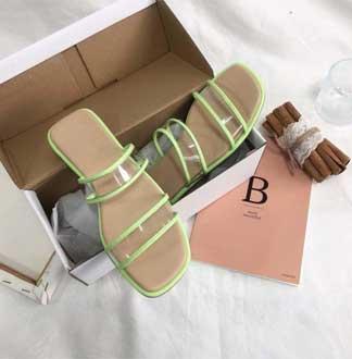 [오얏] 아스테이지 PVC 두줄 투명 스트랩 슬라이드 슬리퍼 샌들 (1cm)